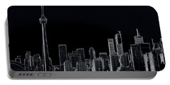 Toronto Skyline Black And White Abstract Portable Battery Charger