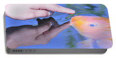 Touching The Koi.  Portable Battery Charger by Debby Pueschel