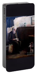 Portable Battery Charger featuring the painting Tough Times by Hazel Holland