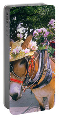 Tourist Carriage Mule Wearing Straw Hat Portable Battery Charger