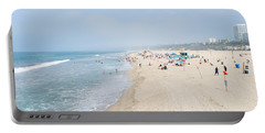 Tourists On The Beach, Santa Monica Portable Battery Charger by Panoramic Images