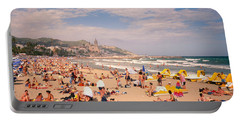 Tourists On The Beach, Sitges, Spain Portable Battery Charger by Panoramic Images