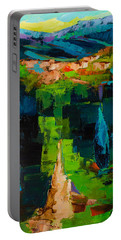 Portable Battery Charger featuring the painting Toward The Tuscan Village by Elise Palmigiani