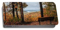 Portable Battery Charger featuring the photograph Tranquility Bench In Great Smoky Mountains by Debbie Green