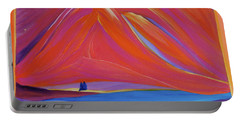 Portable Battery Charger featuring the painting Travelers Pink Mountains by First Star Art