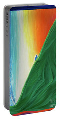 Portable Battery Charger featuring the painting Travelers Rainbow Waterfall By Jrr by First Star Art