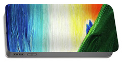 Portable Battery Charger featuring the painting Travelers Rainbow Waterfall Detail by First Star Art