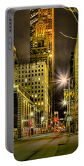 Travis And Lamar Street At Night Portable Battery Charger