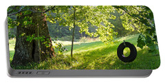 Tree And Tire Swing In Summer Portable Battery Charger