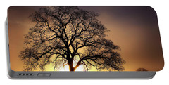 Tree At Sunrise In The Fog Portable Battery Charger