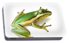 Green Tree Frog Portable Battery Charger by Sarah Batalka