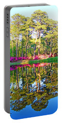 Tree Reflections And Pink Flowers By The Blue Water By Jan Marvin Studios Portable Battery Charger