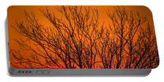 Tree Silhouetted By Irish Sunrise Portable Battery Charger