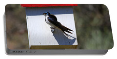 Tree Swallow Home Portable Battery Charger by Mike  Dawson