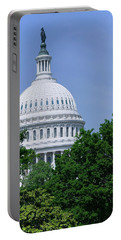 Trees In Spring And U.s. Capitol Dome Portable Battery Charger