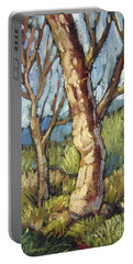 Portable Battery Charger featuring the painting Trees In Spring by Randy Wollenmann