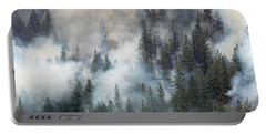 Beaver Fire Trees Swimming In Smoke Portable Battery Charger