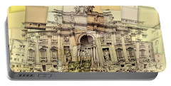 Trevi Fountain Cubism Portable Battery Charger
