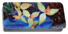 Portable Battery Charger featuring the painting Triangular Blossom by Xueling Zou