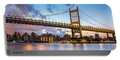 Triboro Bridge At Dusk Portable Battery Charger by Mihai Andritoiu