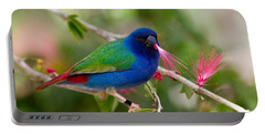 Portable Battery Charger featuring the photograph Tricolor Parrot Finch by Les Palenik