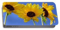 Trio In The Sun - Yellow Daisies By Diana Sainz Portable Battery Charger