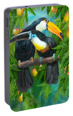 Tropic Spirits - Toucans Portable Battery Charger by Carol Cavalaris