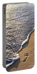 Tropical Beach With Footprints Portable Battery Charger