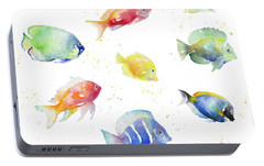 Tropical Fish Round Portable Battery Charger by Lanie Loreth