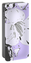 Tropical Floral Violet Black Portable Battery Charger