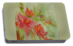 Portable Battery Charger featuring the painting Tropical Splash by Judith Rhue