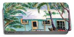 Portable Battery Charger featuring the painting Tropical Vacation Cottage by Marionette Taboniar