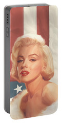 True Blue Marilyn In Flag Portable Battery Charger