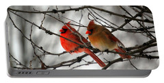 Portable Battery Charger featuring the photograph True Love Cardinal by Peggy Franz