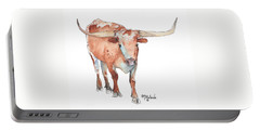 Square Walking Tall Texas Longhorn Watercolor Painting By Kmcelwaine Portable Battery Charger by Kathleen McElwaine