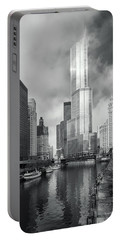 Portable Battery Charger featuring the photograph Trump Tower In Chicago by Steven Sparks