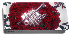 Trumpet On Red Berry Wreath Portable Battery Charger