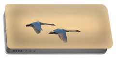 Trumpeter Swans In Flight At Sunset Portable Battery Charger