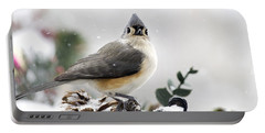 Tufted Titmouse In The Snow Portable Battery Charger by Christina Rollo