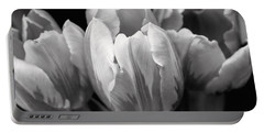 Tulip Flowers Black And White Portable Battery Charger by Jennie Marie Schell