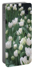 Tulip White Show Flower Butterfly Garden Portable Battery Charger by Navin Joshi