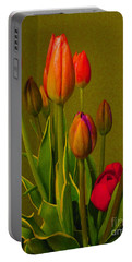 Tulips Against Green Portable Battery Charger by Nina Silver