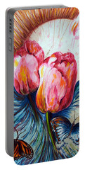 Tulips And Butterflies Portable Battery Charger