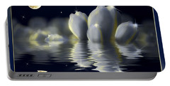 Tulips And Moon Reflection Portable Battery Charger by Peter v Quenter