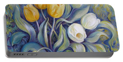 Portable Battery Charger featuring the painting Tulips by Elena Oleniuc