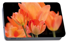 Tulips In Shades Of Orange Portable Battery Charger by Rona Black