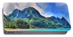 Tunnels Beach Kauai Portable Battery Charger by Dominic Piperata