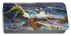 Portable Battery Charger featuring the painting Turbulent Waters Hawaii by Jenny Lee