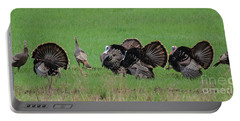 Turkey Mating Ritual Portable Battery Charger by Cheryl Baxter