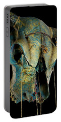 Turquoise And Gold Illuminating Steer Skull Portable Battery Charger by Mayhem Mediums